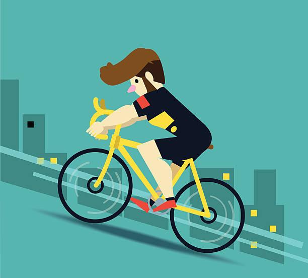 racing radfahrer in aktion auf stadt im hintergrund. - lustige fahrrad stock-grafiken, -clipart, -cartoons und -symbole