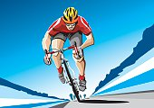 Illustration of a racing cyclist with a red shirt. The background is on a separate layer, so you can use the illustration on your own background. The colors in the .eps and .ai-files are ready for print (CMYK). Included files: EPS (v8), AI (CS2) and Hi-Res JPG.