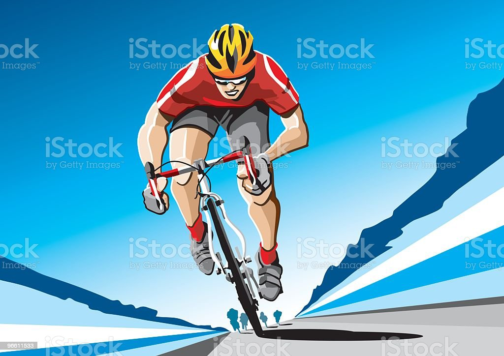 Carrera de mountain bike rojo - ilustración de arte vectorial