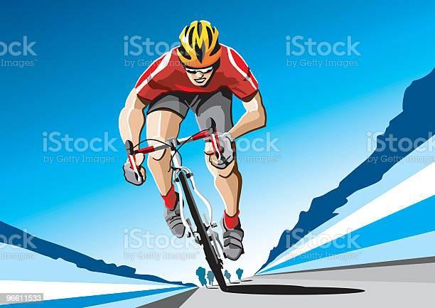 Ciclista Vermelho - Arte vetorial de stock e mais imagens de A caminho
