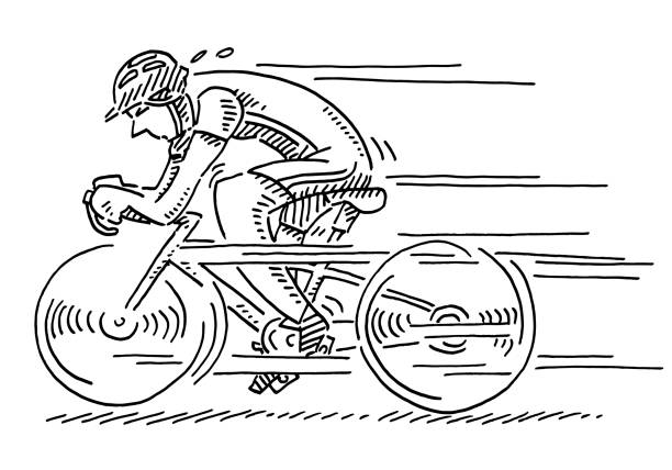 Racing Cyclist Speed Drawing Hand-drawn vector drawing of a Racing Cyclist at high Speed. Black-and-White sketch on a transparent background (.eps-file). Included files are EPS (v10) and Hi-Res JPG. cycling stock illustrations