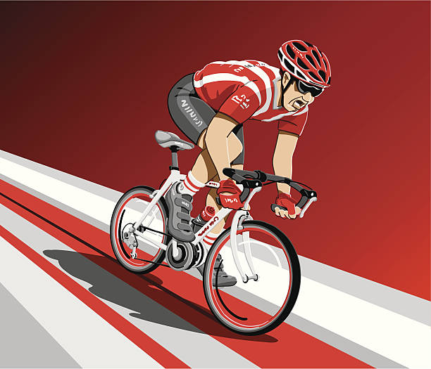 Racing Cyclist Spurt Vector Illustration of a racing cyclist spurting. The background is on a separate layer, so you can use the illustration on your own background. The colors in the .eps-file are ready for print (CMYK). Included files: EPS (v8) and Hi-Res JPG. cycling stock illustrations