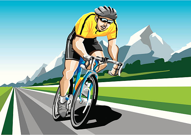"""Racing Cyclist Yellow """"Illustration of a racing cyclist with the yellow shirt. The background is on a separate layer, so you can use the illustration on your own background. The colors in the .eps and .ai-files are ready for print (CMYK). Included files: EPS (v8), AI (CS2) and Hi-Res JPG."""" cycling stock illustrations"""
