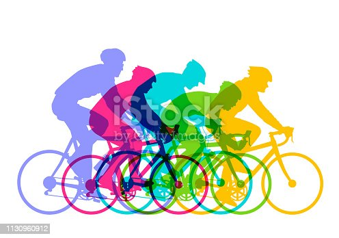 Colourful silhouettes of Cyclists racing