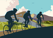 Racing Cyclists in retro cross hatch style countryside