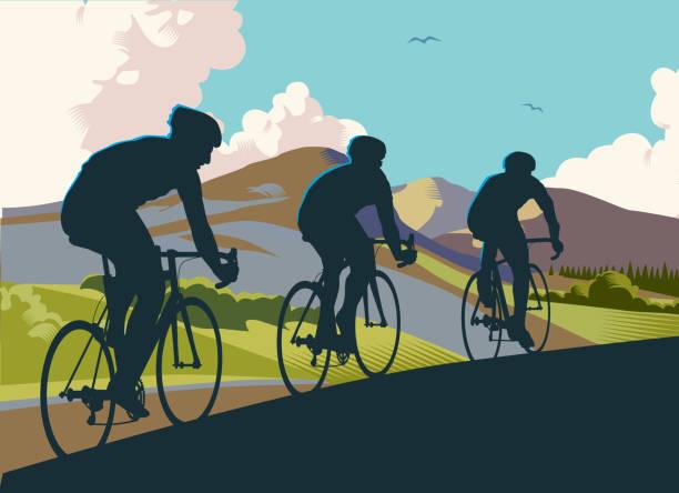 ilustraciones, imágenes clip art, dibujos animados e iconos de stock de ciclistas de carreras - andar en bicicleta