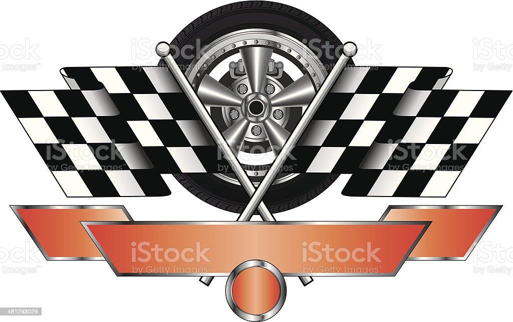Racing Design With Wheel vector art illustration