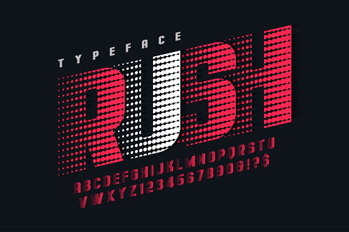 Racing Display Font Design Alphabet Letters And Numbers Stock Illustration - Download Image Now