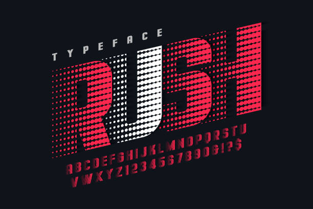 racing display font design, alphabet, letters and numbers - alphabet designs stock illustrations