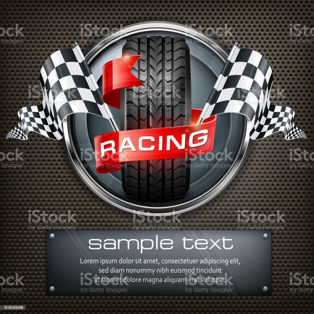 Racing emblem on black vector art illustration