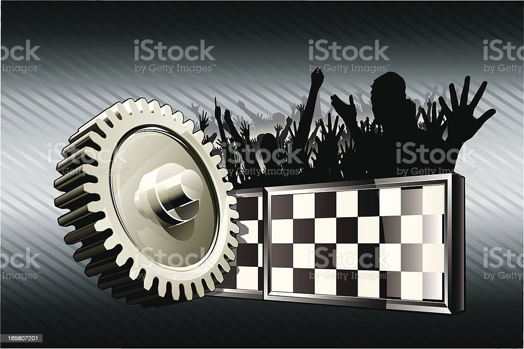 Racing Emblem with gear royalty-free stock vector art