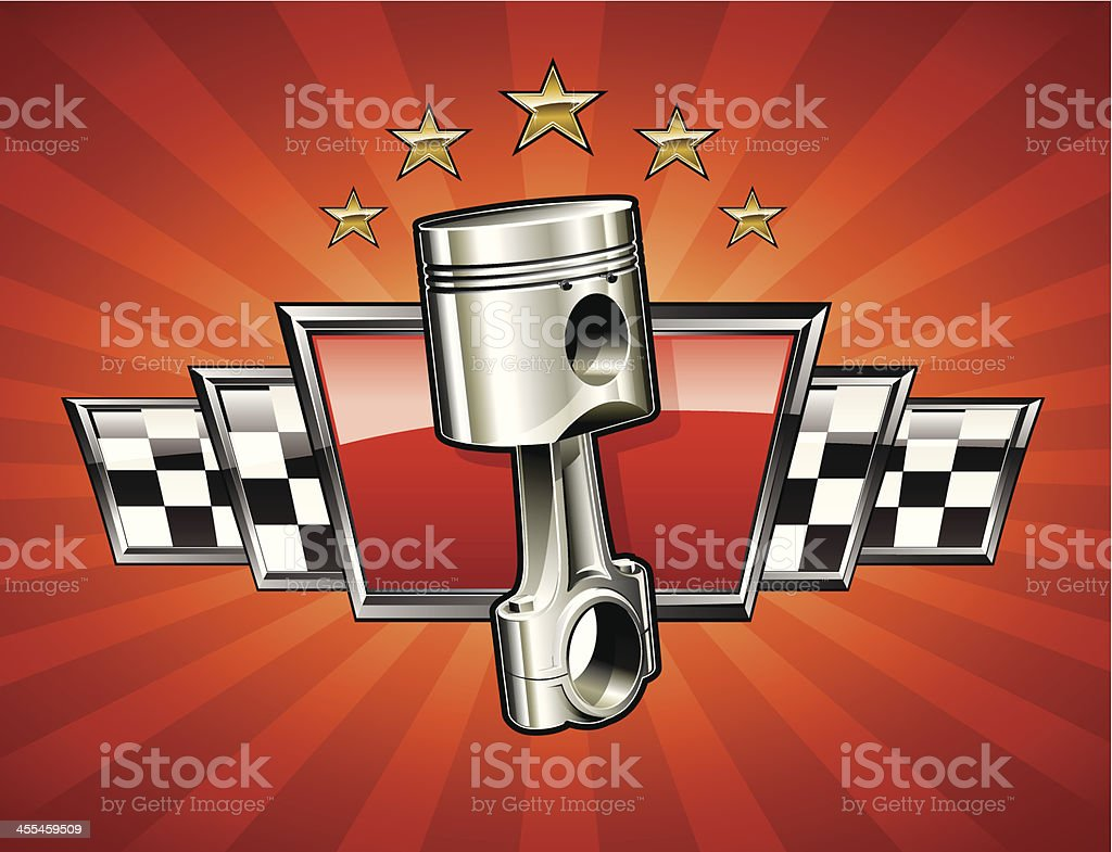 Racing emblem with piston royalty-free stock vector art