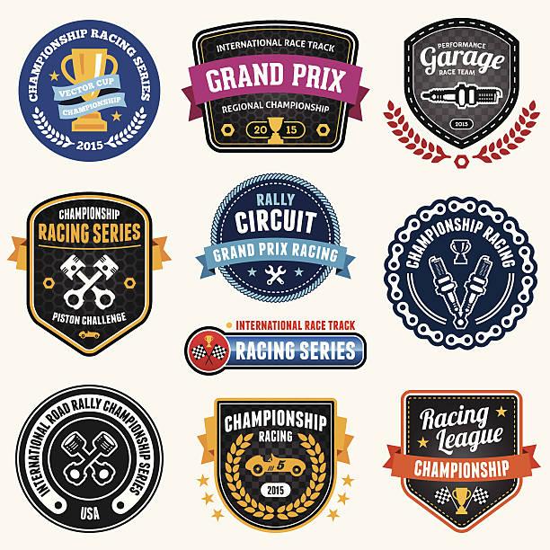 stockillustraties, clipart, cartoons en iconen met racing emblems - sportkampioenschap