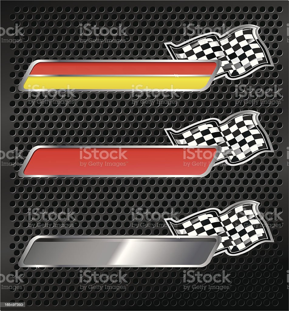 Racing Emblems With Checkered Flags vector art illustration