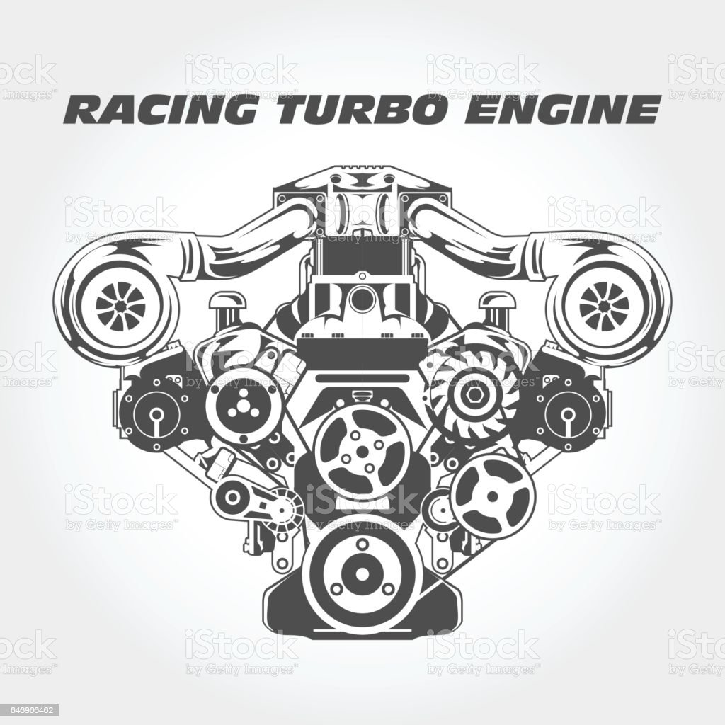 Racing Engine With Supercharger Power Turbo Motor Stock Vector Art ...