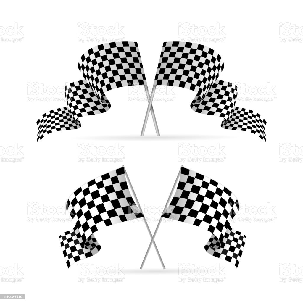 Racing Flag Avto Set. Vector vector art illustration