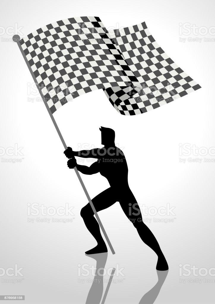 Porte-drapeau de la course - clipart vectoriel de Activité de loisirs libre de droits