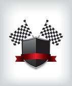 Racing flags and black shield
