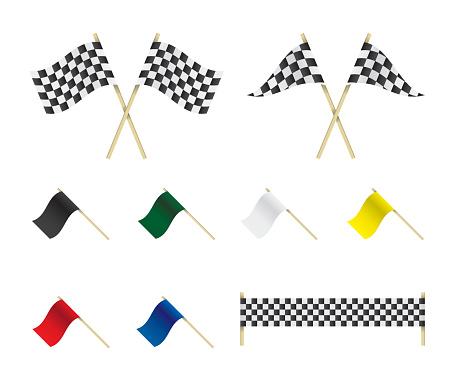 Racing flags set illustration