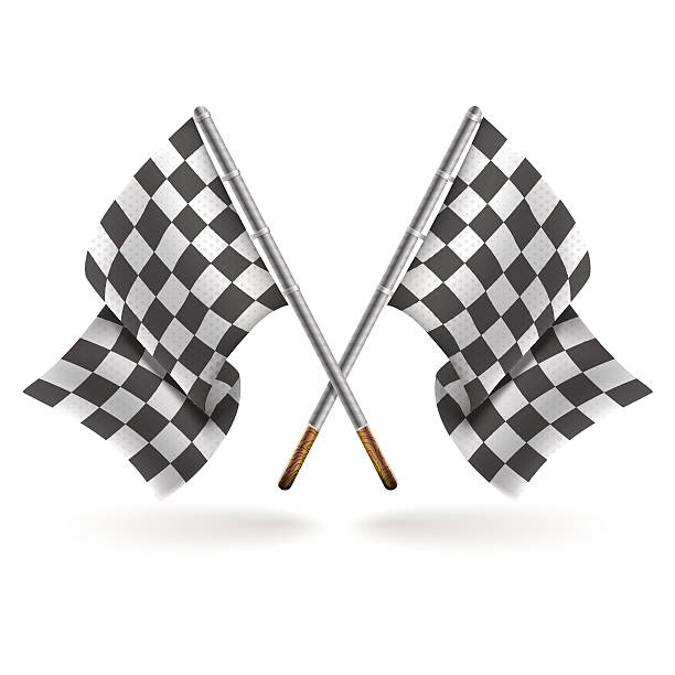 racing formula 1 flags isolated on light background - formula 1 stock illustrations