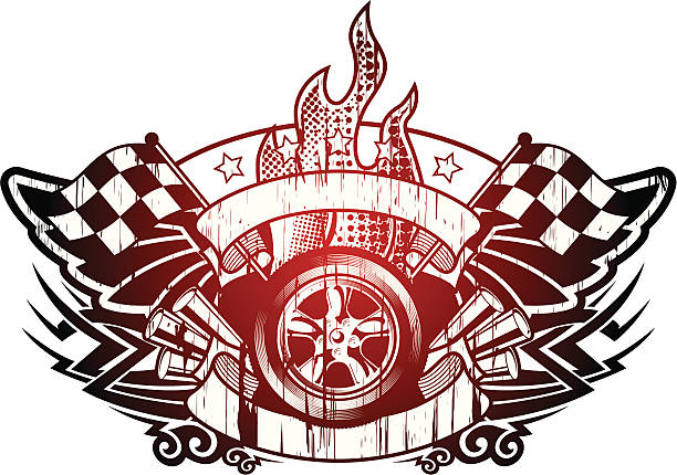 racing grunge emblem - fire tattoos stock illustrations, clip art, cartoons, & icons