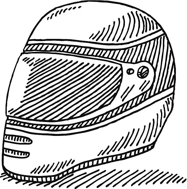 Racing Helmet Drawing Hand-drawn vector drawing of a Racing Helmet. Black-and-White sketch on a transparent background (.eps-file). Included files are EPS (v10) and Hi-Res JPG. motor sport stock illustrations