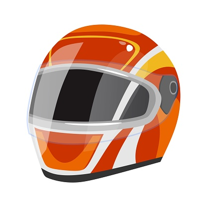 Racing helmet icon isolated on white background. Red sport safety helmet with white stripes in cartoon style. Vector illustration