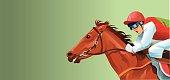Racing Horse and Jockey Close Up