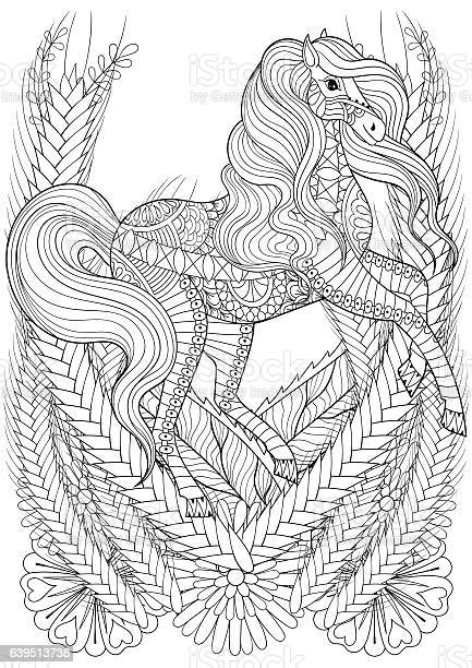 Racing horse in flowers adult anti stress coloring page. Hand drawn animal for colouring, book cover, art therapy, greeting card, t-shirt print, patterned ethnic decoration elements. A4 size.