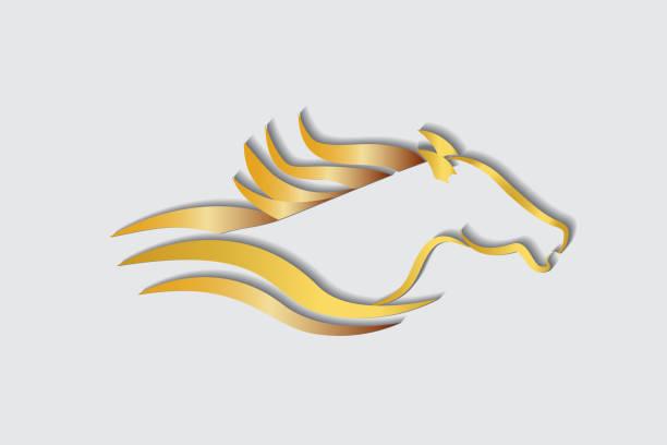 경주 말 로고 - horse racing stock illustrations