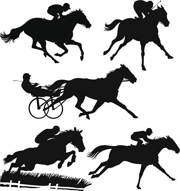 레이싱 말이었습니다 실루엣 - horse racing stock illustrations