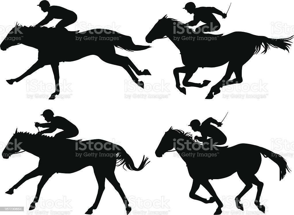 Racing horses vector art illustration