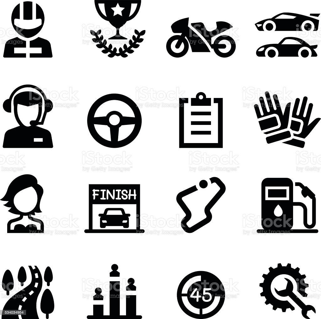 Racing icon set vector art illustration