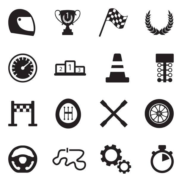 racing icons. black flat design. vector illustration. - formula 1 stock illustrations
