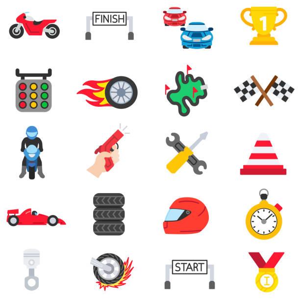 racing symbole festgelegt. - sportschutzhelm stock-grafiken, -clipart, -cartoons und -symbole