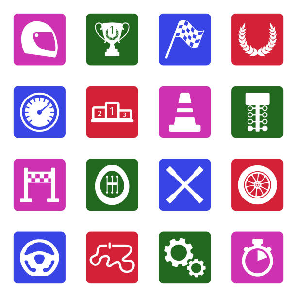 racing icons. white flat design in square. vector illustration. - formula 1 stock illustrations