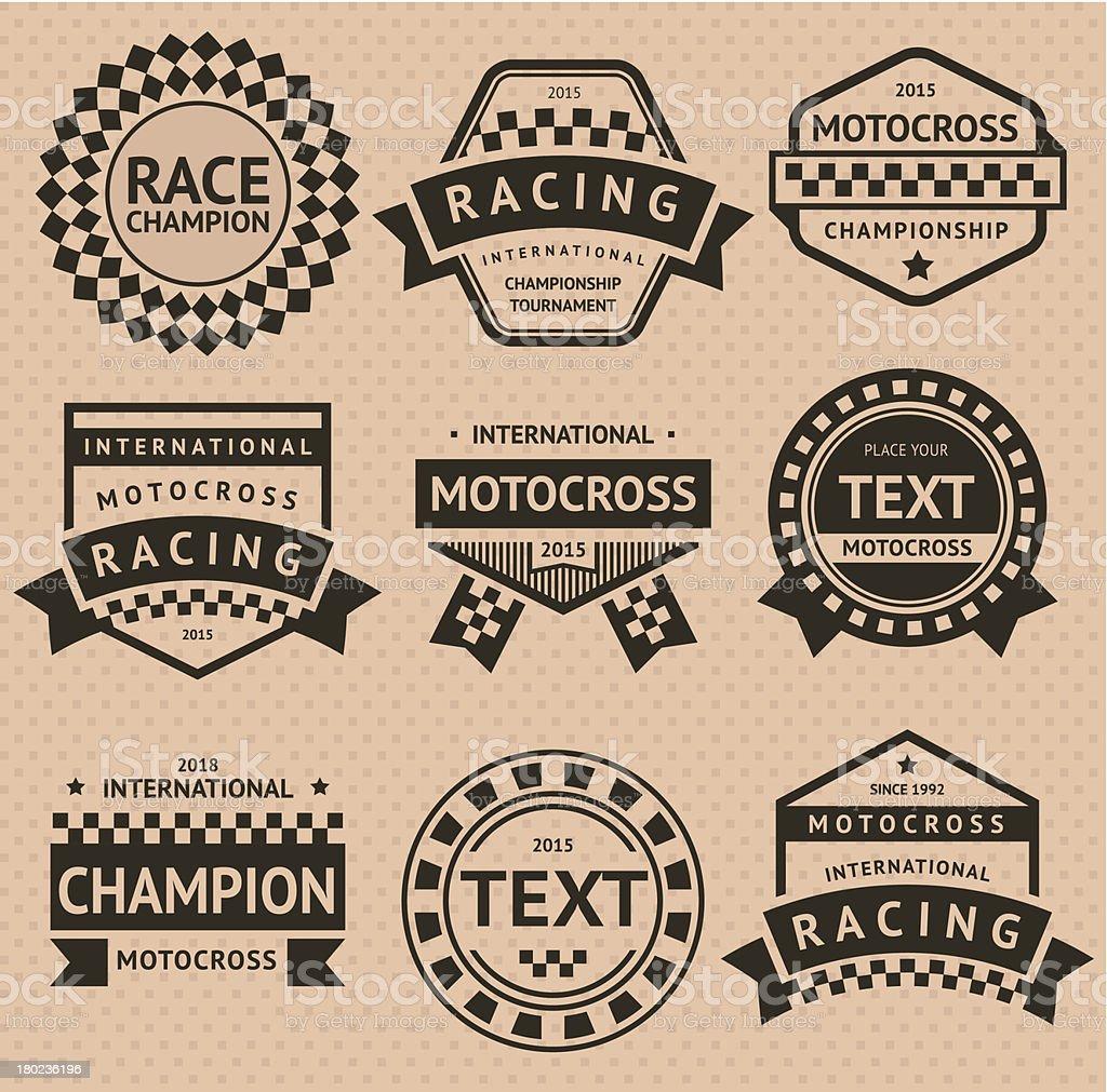 Racing insignia set, vintage style vector art illustration