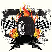 A race car tire in front of flames and a checkered flags over a grunge background. There is a ribbon text banner for text in the front.