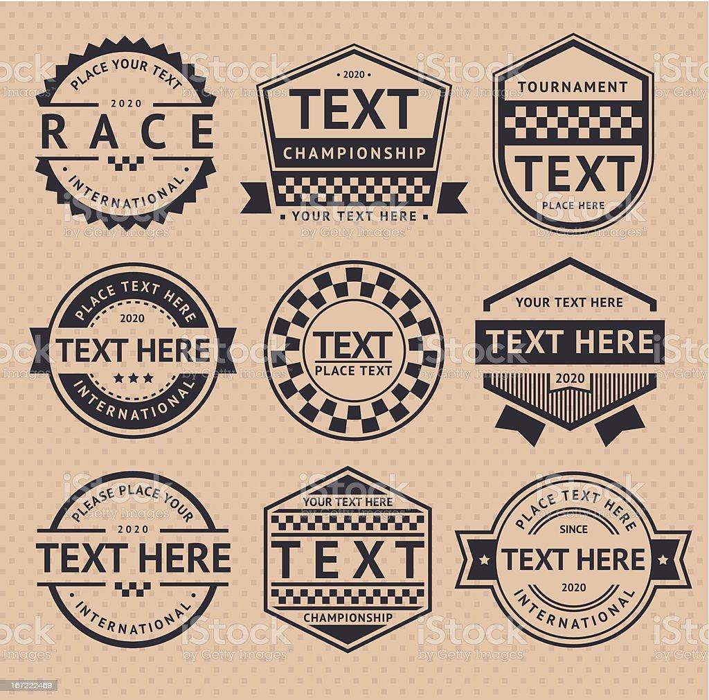 Racing insignia, vintage style vector art illustration