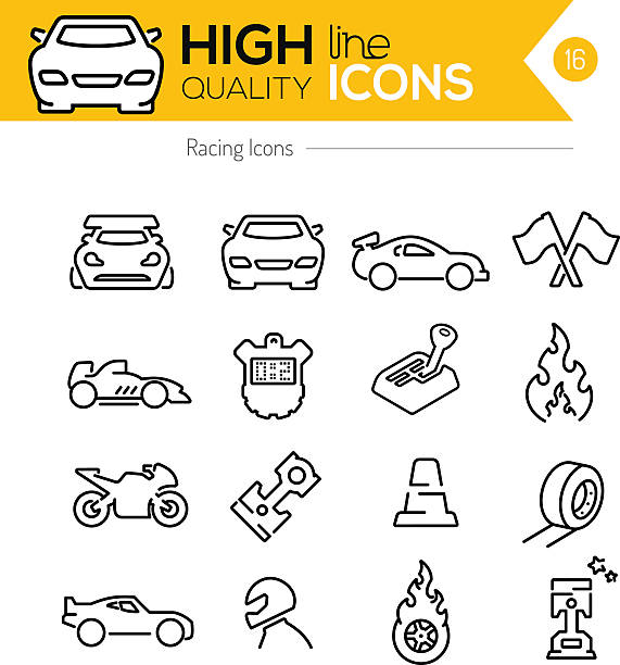 Racing Line Icons Racing Line Icons sports car stock illustrations
