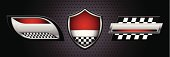 Three shiny race car icons with a textured background. Files included – jpg, ai (version 8 and CS3), and eps (version 8)