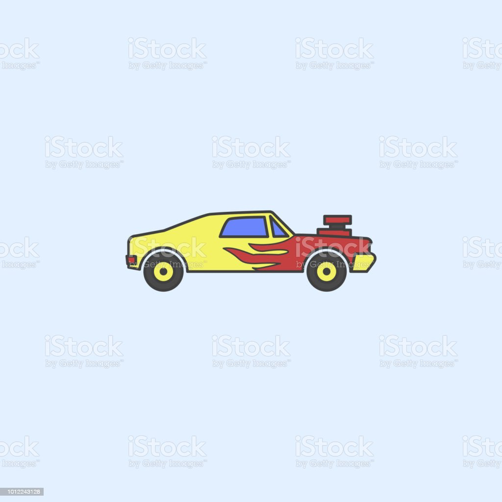 Racing Muscle Car Field Outline Icon Element Of Monster Trucks Show