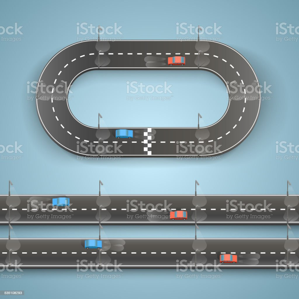 Racing on the road vector art illustration