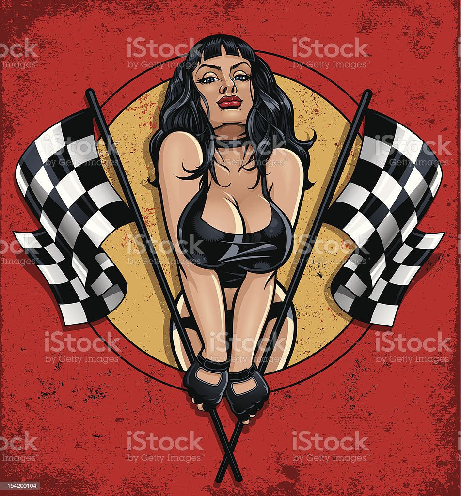 Racing Pinup Holding Two Checkered Flags vector art illustration