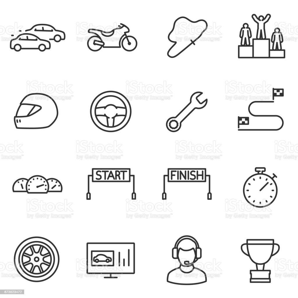 Racing, set icons. Editable stroke. vector art illustration