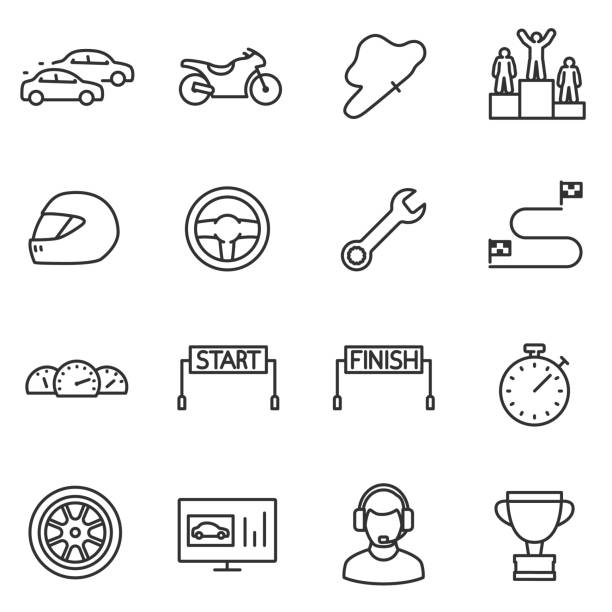Racing, set icons. Editable stroke. Racing, set icons. Automobile and motorcycle competitions. High-speed races. Line with editable stroke auto racing stock illustrations