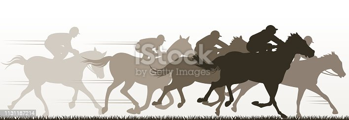 drawing of vector horse racing silhouette. Created by illustrator CS6. This file of transparent.