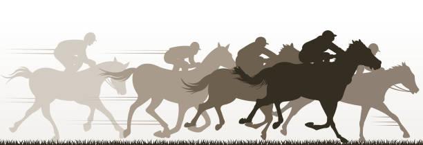 bildbanksillustrationer, clip art samt tecknat material och ikoner med racing silhuett - häst tävling