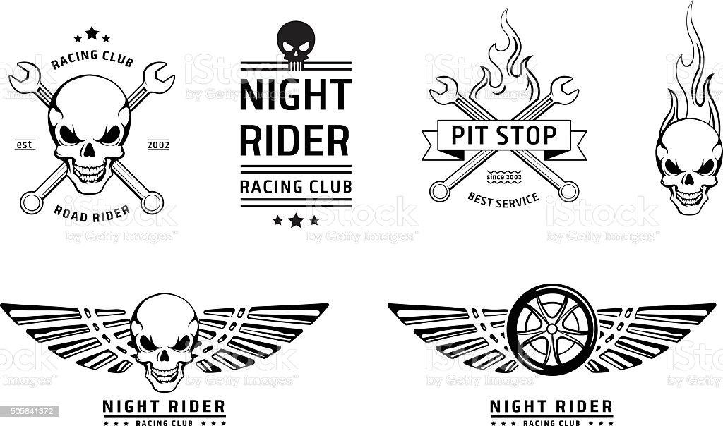 Racing-Embleme, Vektor-set mit Totenkopf – Vektorgrafik
