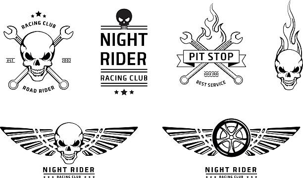 racing skull emblems vector set - fire tattoos stock illustrations, clip art, cartoons, & icons